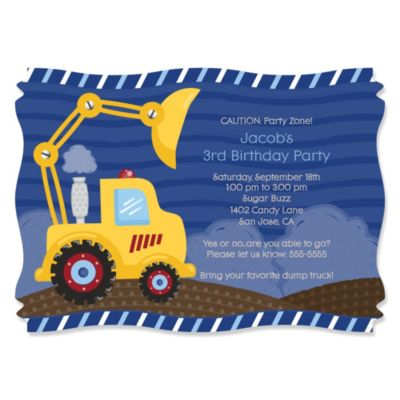 Construction Truck Personalized Birthday Party Invitations