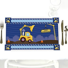 Construction Truck - Party Table Decorations - Baby Shower or Birthday Party Placemats - Set of 12
