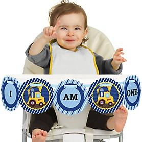 Construction Truck 1st Birthday - I am One - First Birthday High Chair Banner