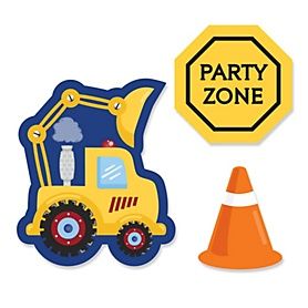 Construction Truck - DIY Shaped Party Paper Cut-Outs - 24 ct