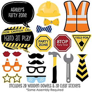 Construction Truck - Baby Shower Photo Booth Props Kit - 20 Props