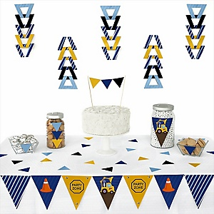 Construction Truck -  Triangle Party Decoration Kit - 72 Piece