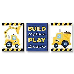 "Construction Truck - Baby Boy Nursery Wall Art & Kids Room Décor - 7.5"" x 10"" - Set of 3 Prints"