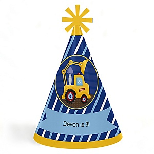 Construction Truck - Personalized Cone Happy Birthday Party Hats for Kids and Adults - Set of 8 (Standard Size)