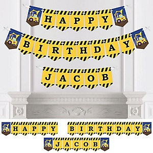 Construction Truck - Personalized Birthday Party Bunting Banner & Decorations