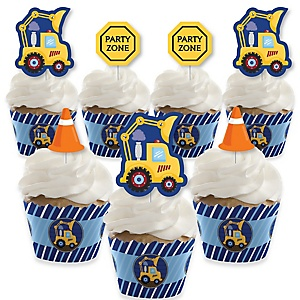 Construction Truck - Cupcake Decoration - Baby Shower or Birthday Party Cupcake Wrappers and Treat Picks Kit - Set of 24