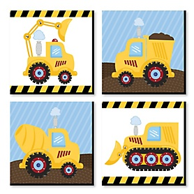 Construction Truck - Kids Room, Nursery Decor and Home Decor - 11 x 11 inches Nursery Wall Art - Set of 4 Prints for Baby's Room