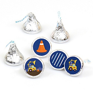 Construction Truck - Round Candy Labels Party Favors - Fits Hershey's Kisses - 108 ct
