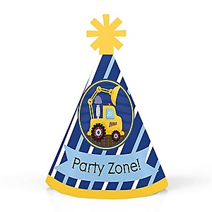 Construction Truck - Personalized Mini Cone Baby Shower or Birthday Party Hats - Small Little Party Hats - Set of 10