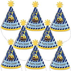 Construction Truck - Mini Cone Baby Shower or Birthday Party Hats - Small Little Party Hats - Set of 8