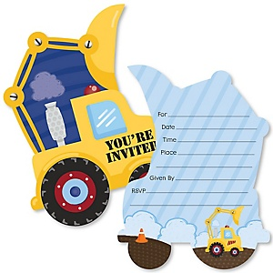 Construction Truck - Shaped Fill-In Invitations - Baby Shower or Birthday Party Invitation Cards with Envelopes - Set of 12