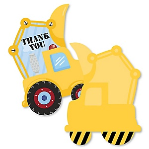 Construction Truck - Shaped Thank You Cards - Baby Shower or Birthday Party Thank You Note Cards with Envelopes - Set of 12