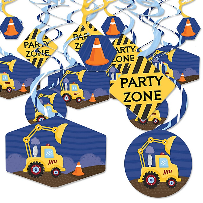 Construction Truck - Baby Shower or Birthday Party Hanging Decor - Party Decoration Swirls - Set of 40