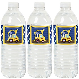 Construction Truck - Party Water Bottle Sticker Labels - Set of 20