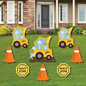 Construction Truck - Yard Sign & Outdoor Lawn Decorations - Baby Shower or Birthday Party Yard Signs - Set of 8