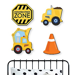 Construction Truck - Baby Boy Nursery and Kids Room Home Decorations - Shaped Wall Art - 4 Piece