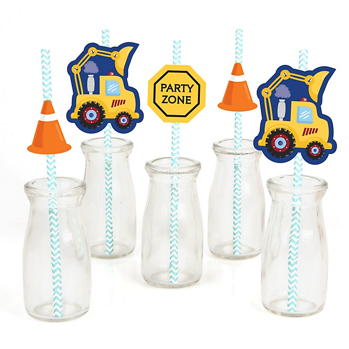 Construction Truck - Paper Straw Decor - Baby Shower or Birthday Party Striped Decorative Straws - Set of 24