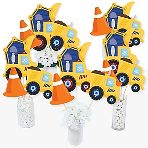 Construction Truck - Baby Shower or Birthday Party Centerpiece Sticks - Table Toppers - Set of 15