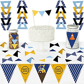 Construction Truck - DIY  Pennant Banner Decorations - Baby Shower or Birthday Party Triangle Kit - 99 Pieces