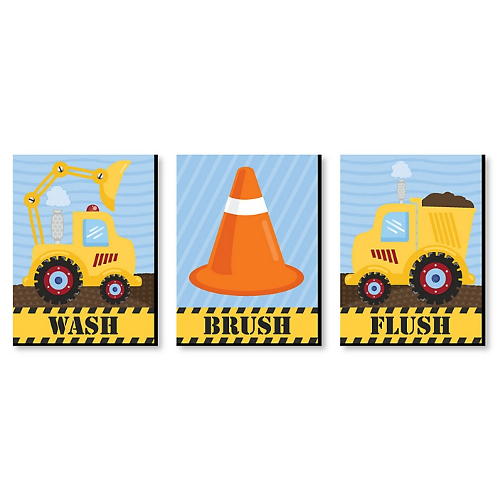 Construction Truck - Kids Bathroom Rules Wall Art - 7.5 x 10 inches - Set of 3 Signs - Wash, Brush, Flush