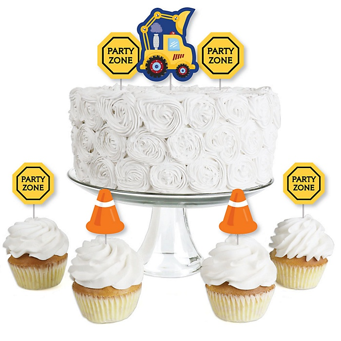 Construction Truck - Dessert Cupcake Toppers - Baby Shower or Birthday Party Clear Treat Picks - Set of 24
