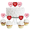 Conversation Hearts - Dessert Cupcake Toppers - Valentine's Day Party Clear Treat Picks - Set of 24