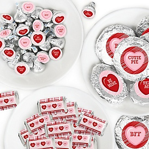Conversation Hearts - Mini Candy Bar Wrappers, Round Candy Stickers and Circle Stickers - Valentine's Day Party Candy Favor Sticker Kit - 304 Pieces