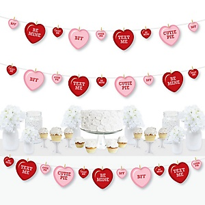 Conversation Hearts - Valentine's Day Party DIY Decorations - Clothespin Garland Banner - 44 Pieces