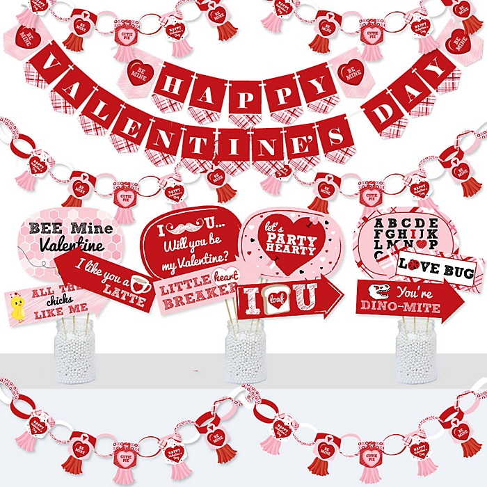 Conversation Hearts - Banner and Photo Booth Decorations - Valentine's Day Party Supplies Kit - Doterrific Bundle