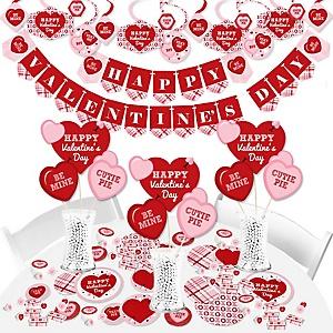 Conversation Hearts - Valentine's Day Party Supplies - Banner Decoration Kit - Fundle Bundle