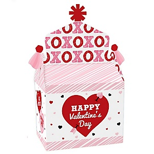 Conversation Hearts - Treat Box Party Favors - Valentine's Day Party Goodie Gable Boxes - Set of 12