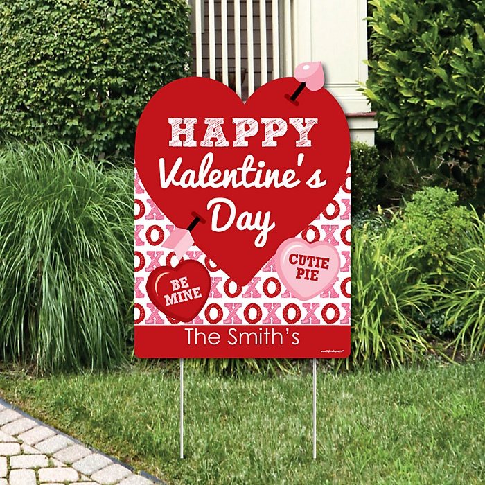 Conversation Hearts - Party Decorations - Valentine's Day Party Personalized Welcome Yard Sign