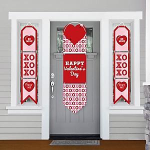 Conversation Hearts - Hanging Porch Front Door Signs - Valentine's Day Party Banner Decoration Kit - Outdoor Door Decor