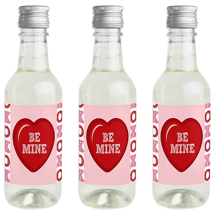 Conversation Hearts - Mini Wine and Champagne Bottle Label Stickers - Valentine's Day Party Favor Gift - For Women and Men - Set of 16