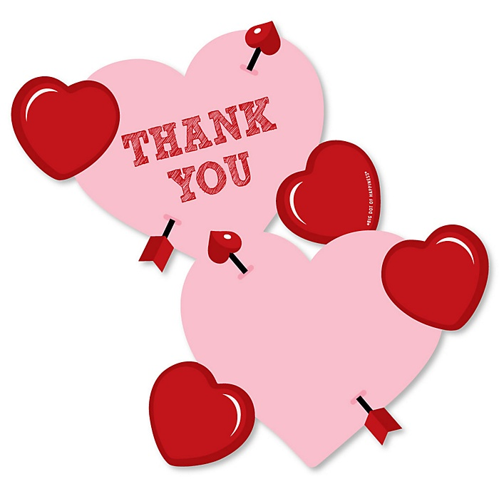 Conversation Hearts - Shaped Thank You Cards - Valentine's Day Party Thank You Note Cards with Envelopes - Set of 12