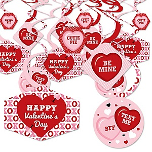Conversation Hearts - Valentine's Day Party Hanging Decor - Party Decoration Swirls - Set of 40