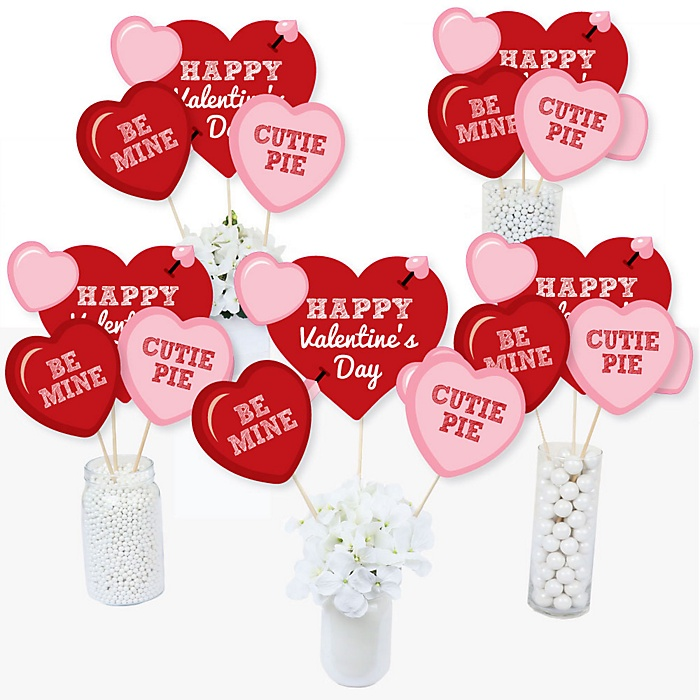 Conversation Hearts - Valentine's Day Party Centerpiece Sticks - Table Toppers - Set of 15