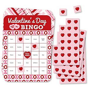 Conversation Hearts - Bingo Cards and Markers - Valentine's Day Party Bingo Game - Set of 18