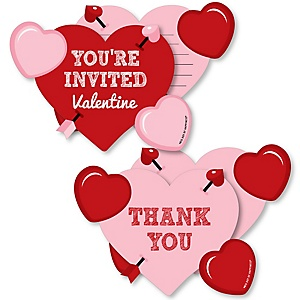 Conversation Hearts - 20 Shaped Fill-In Invitations and 20 Shaped Thank You Cards Kit - Valentine's Day Party Stationery Kit - 40 Pack