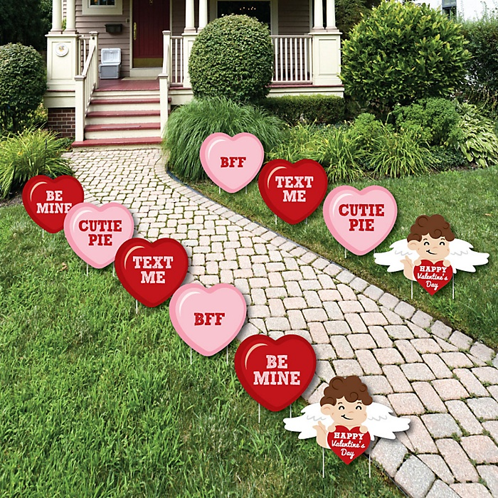 Conversation Hearts - Cupid and Heart Lawn Decorations - Outdoor Valentine's Day Party Yard Decorations - 10 Piece