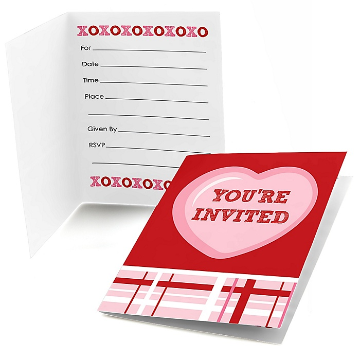 Conversation Hearts - Fill In Valentine's Day Party Invitations (8 count)