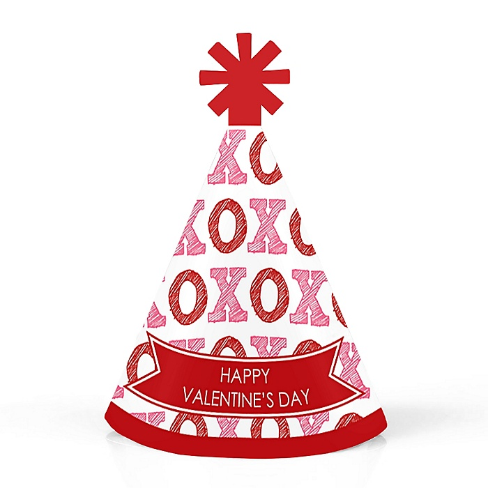 Conversation Hearts - Personalized Mini Cone Valentine's Day Party Hats - Small Little Party Hats - Set of 10