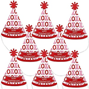 Conversation Hearts - Mini Cone Valentine's Day Party Hats - Small Little Party Hats - Set of 8