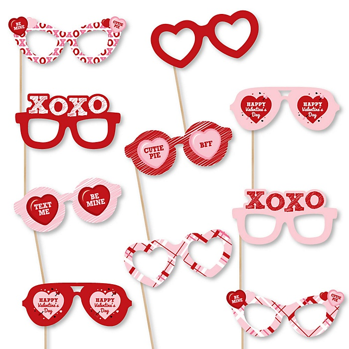 Conversation Hearts Glasses - Paper Card Stock  Valentine's Day Party Photo Booth Props Kit - 10 Count