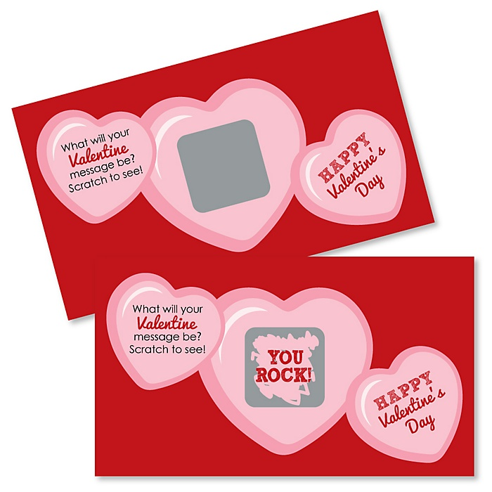 Conversation Hearts - Scratch Off Valentine's Day Cards - 22 Count
