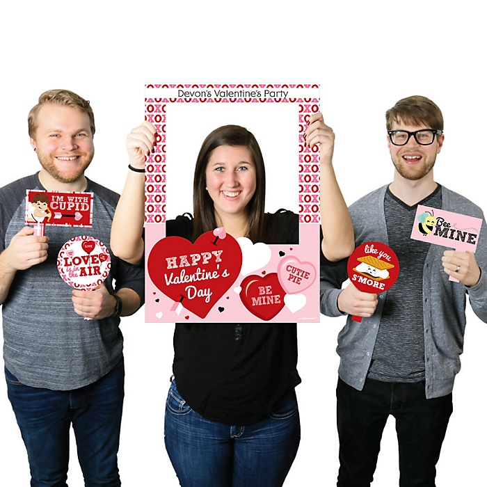 Conversation Hearts - Personalized Valentine's Day Party Selfie Photo Booth Picture Frame & Props - Printed on Sturdy Material