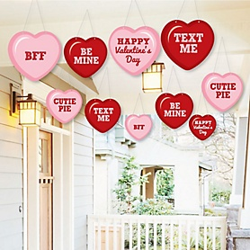 Hanging Conversation Hearts - Outdoor Valentine's Day Party Hanging Porch & Tree Yard Decorations - 10 Pieces