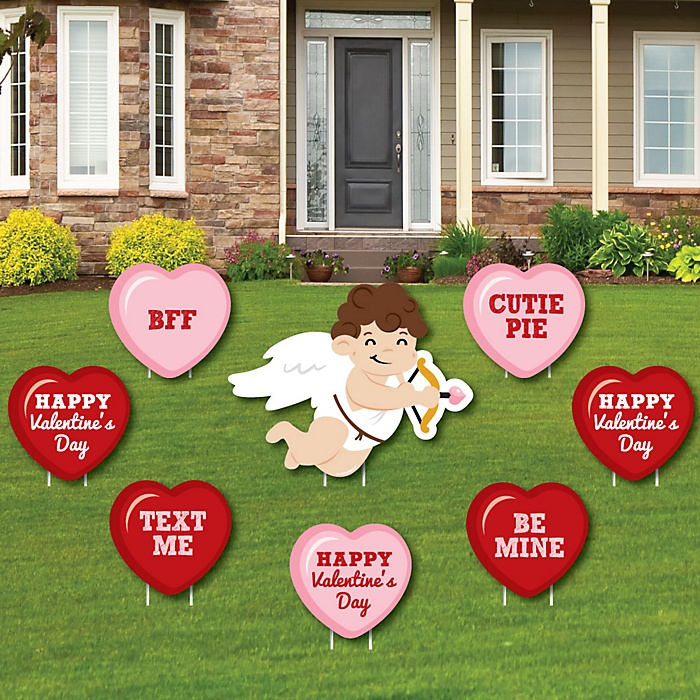 Conversation Hearts - Yard Sign & Outdoor Lawn Decorations - Valentine's Day Party Yard Signs - Set of 8