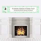 Silhouette Couples Baby Shower - It's A Baby - Personalized Baby Shower Banners
