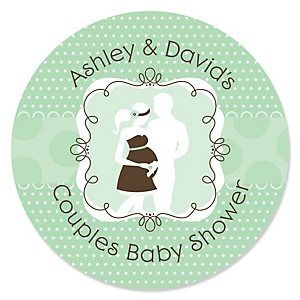 Silhouette Couples Baby Shower - It's A Baby - Personalized Baby Shower Sticker Labels - 24 ct